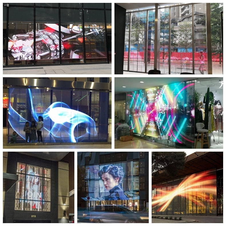 Glass window curtain indoor advertising video wall p3.91 led transparent display screen panel