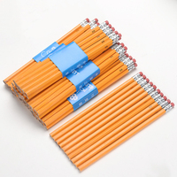 Customized logo 7 inches poplar Wood Hexagonal yellow HB pencil with eraser for office and school