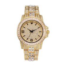 Мужские часы MISSFOX с арабскими цифрами, роскошные золотые часы с бриллиантами, Мужские кварцевые наручные часы из нержавеющей стали(Китай)