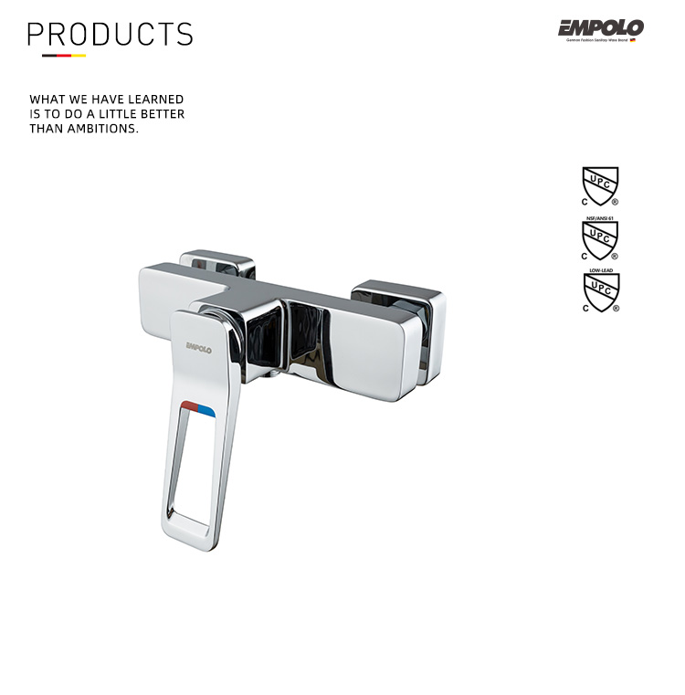Hot cold water single lever bath shower mixer
