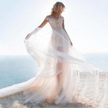 2020 Съемная юбка 2 в 1 свадебное платье Кружевная аппликация Тюль с открытыми плечами пляжное свадебное платье богемные свадебные платья(Китай)