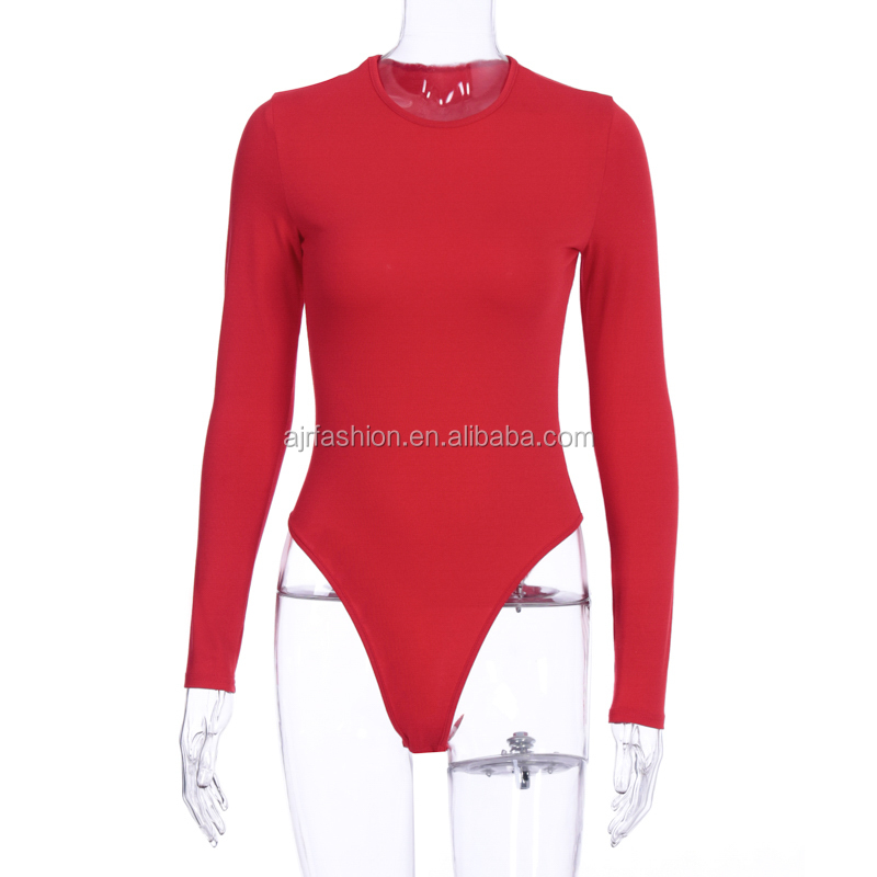 IN STOCK 2020 New solid color slim long sleeve round neck cotton bodysuit women clothing