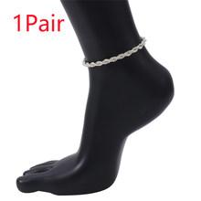 Панк мужские браслеты кубинские железные звенья цепи браслеты женщин минимализм скрученный серебряный цвет унисекс на лодыжку, босые ноги ...(Китай)