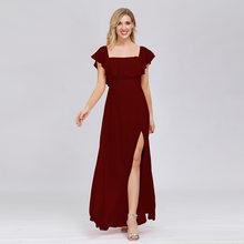 Платье для подружки невесты большого размера, элегантные шифоновые платья с открытыми плечами, вечерние платья до щиколотки, раздельные Фо...(China)