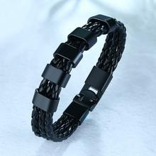 Мужские браслеты Vnox с индивидуальным названием, черные Многослойные плетеные кожаные браслеты с подвесками из нержавеющей стали, на заказ, ...(Китай)