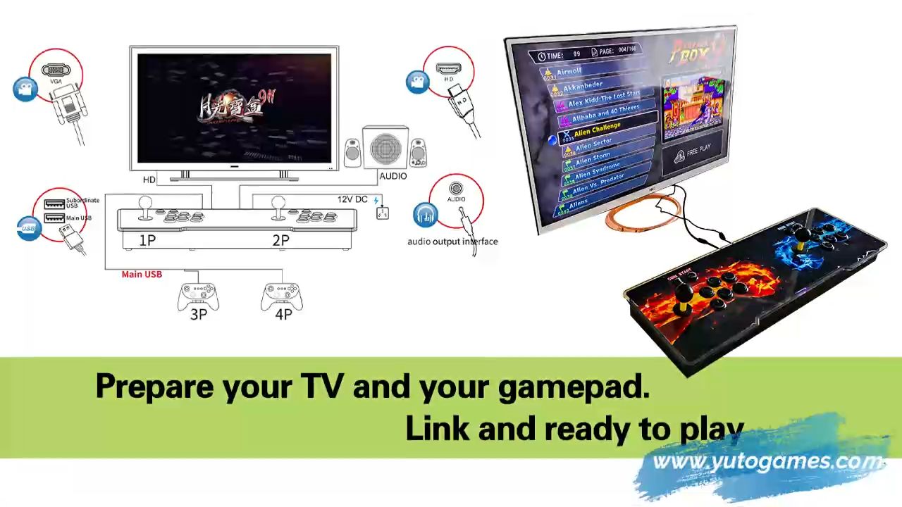 פנדורה 9 ארקייד משחק כף יד משחק וידאו קונסולת 3188 ב 1 רטרו קלאסי פנדורה תיבת 12 3D ג 'ויסטיק למכירה