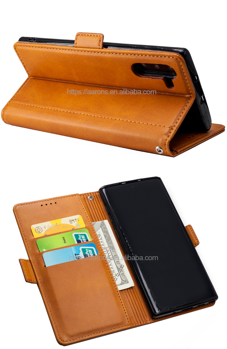 Top quality handmade custom PU leather wallet cell phone case for Samsung Galaxy Note 10