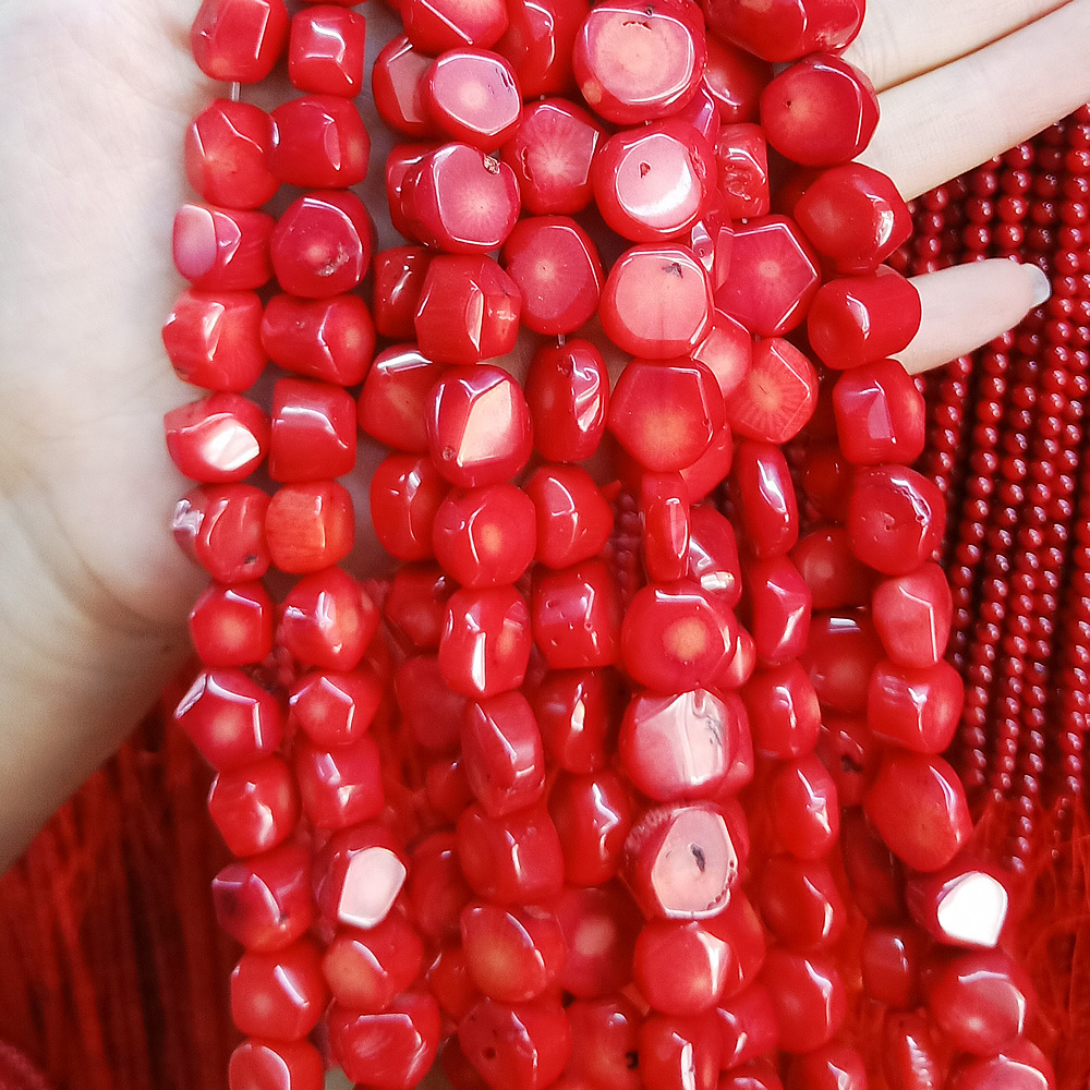 Freerorm Shape Red Coral Gravel Chip Loose Beads Jewelry Making DIY