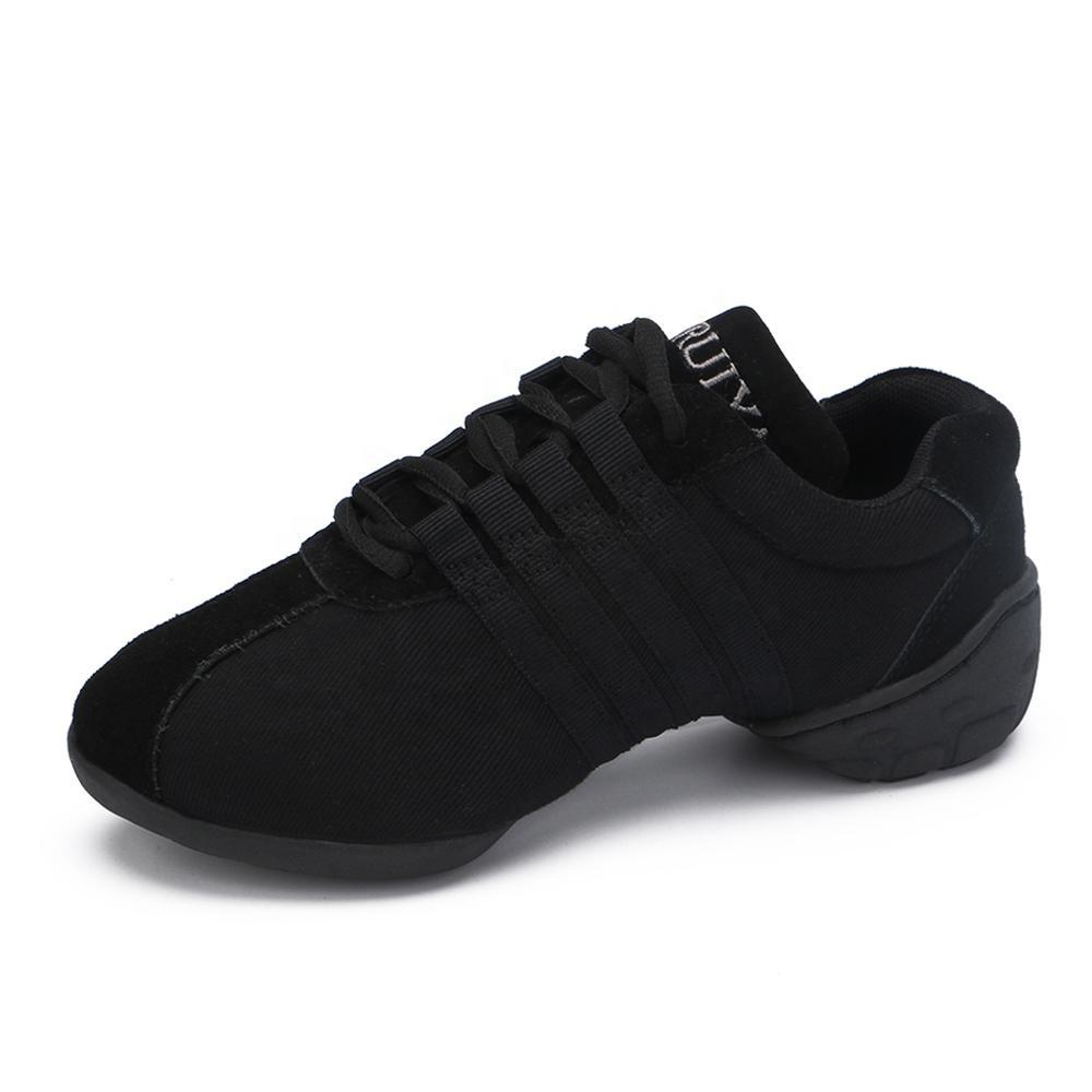 Woman High Quality Black Canvas  Ballroom Dancing Sneakers