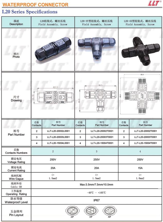 IP68 2 3 4 PINOS led Industrial à prova d' água elétrica 2Pin 3Pin 4Pin cabo L conector Em Linha Reta