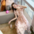 2020 Summer Women New Gentle Wind Sweet Mesh Skirt Embroidery Wild V-neck Fairy Floral Dress