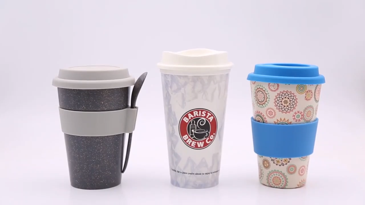 생분해 성 대나무 섬유 플라스틱 재사용 커피 컵 뚜껑