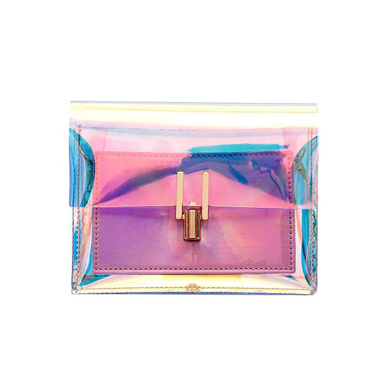 Wholesale colorful transparent pvc neon chain purses bags jelly handbags for <strong>women</strong>