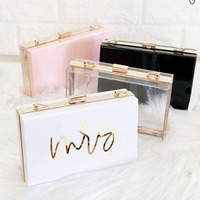 Gril's Handbag Wholesale Personalized Bride Gift Chain Clear Mrs Purse Acrylic Bridesmaid Clutch