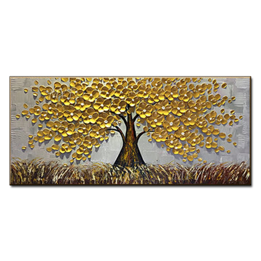 MYT 3D Knife Thick Flower Tree Oil Painting On Canvas Abstract <strong>Picture</strong>