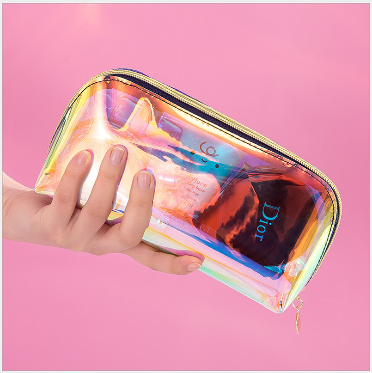 50 шт., Пользовательский логотип, прозрачная голографическая косметичка из ТПУ bolsos maquillaje, персонализированная лазерная ПВХ косметичка <span style=