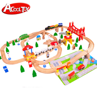 Kids intelligence toy 100pcs wooden toys train track set railway for children
