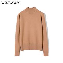 WOTWOY осенне-зимний базовый вязаный хлопковый свитер для женщин 2020, кашемировый Женский пуловер с круглым вырезом, Повседневная плотная женс...(Китай)