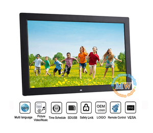 new plastic case 17 inch video playback digital photo frame with sd card motion sensor optional