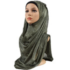 Blackish green color women scarf muslim new design stripe flower cotton print hijab