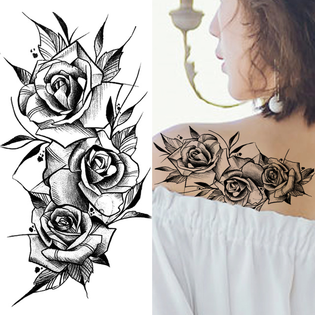Back Arm Sex Black Flower Wolf Skull Pattern Individuality Healthy Ink Hypoallergenic Temporary Sticker Tattoo For Women