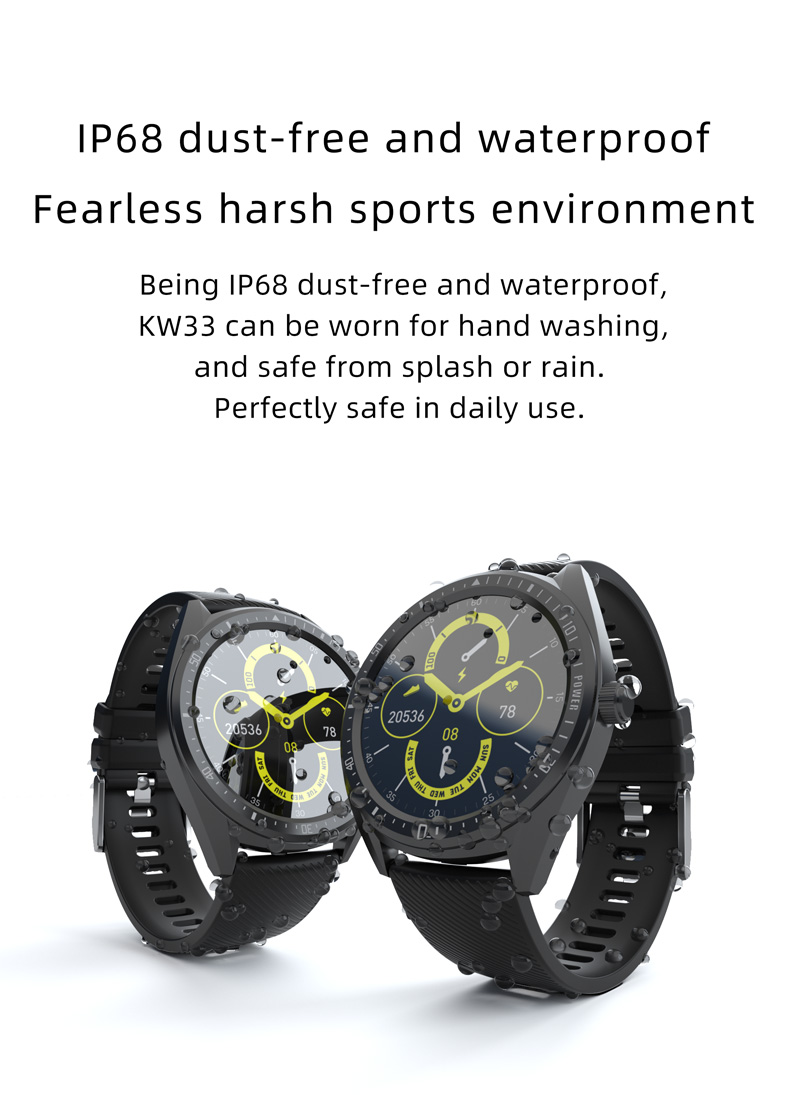 2020 New Arrivals Kingwear KW33 Sport Watch 460mAh Big Battery Waterproof IP68 Fitness Smart Watch