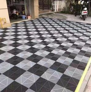 Multi purpose rigid plastic interlocking garage floor tiles for Front entry, mud room, deck or patio