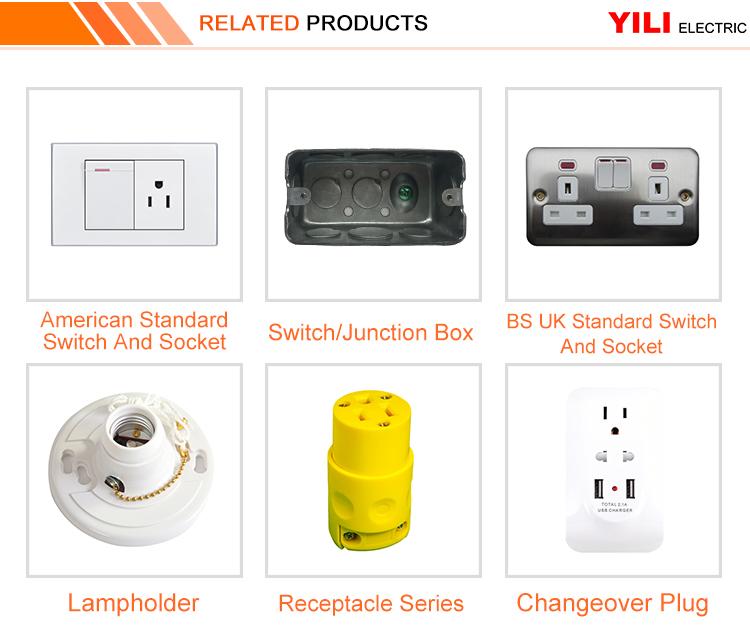 ขายส่งมาตรฐานสีขาวพลาสติกสังเคราะห์คู่ 3 PIN WALL Power Socket