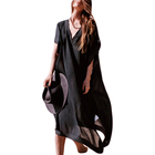 Long Half Sleeve Beach Kaftan Dress Women Casual Swimwear Ladies Beach Cover Up