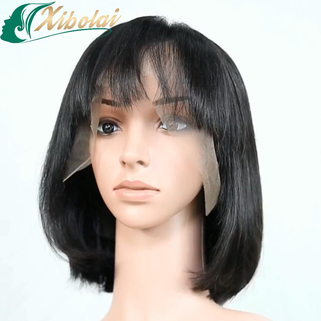 Straight Short Bob Wigs Brazilian Bob Human Hair Wig With Bangs Lace Front Human Hair Wigs Remy Soft Virgin Humain Hair