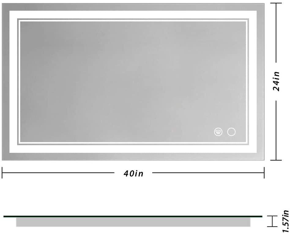 Amazon Manufacturer Hot Sale 40X24 LED Bathroom Light Smart Mirror Custom