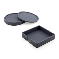 Kitchen Dining Wine Gray Custom Silicone Coffee Tea Bar Cup Drink Coasters With Holder