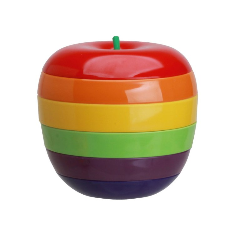 Colorful 5 layers apple Stackable Snack Plates/ bowls