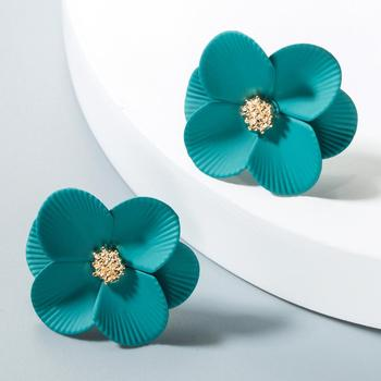 2019 Korean Style Cute Flower Stud Earrings New Fashion Candy Color Floral Paint Alloy Earrings Jewelry Women Accessories