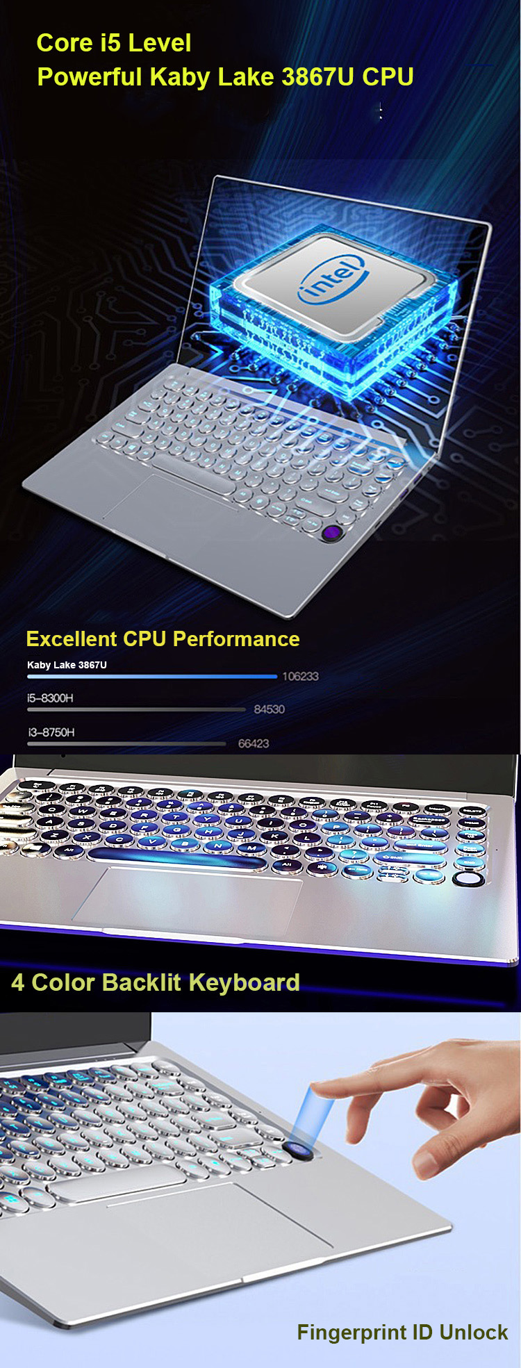 Top Retro Punk Keyboard Intel 3867U 14inch Laptop Notebooks DDR4 with Dedicated Graphics 2G metal fingerprint backlit