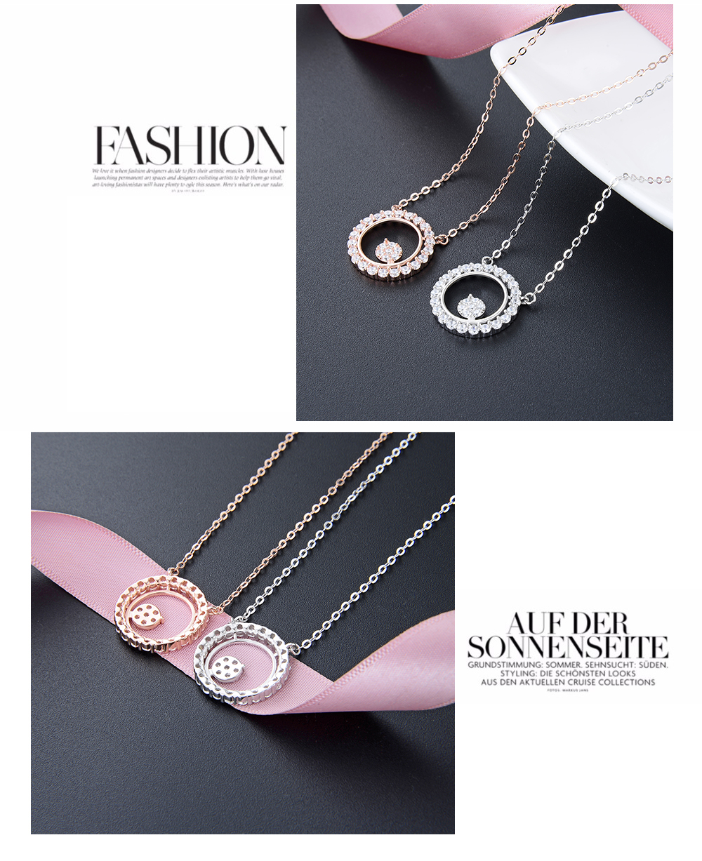 F.ZENI high quality zircon stone rose gold white color women sterling silver necklace for women