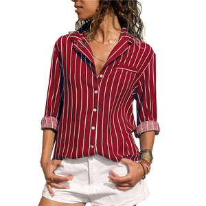 Low price V-neck long-sleeve striped chiffon blouse T shirt for women