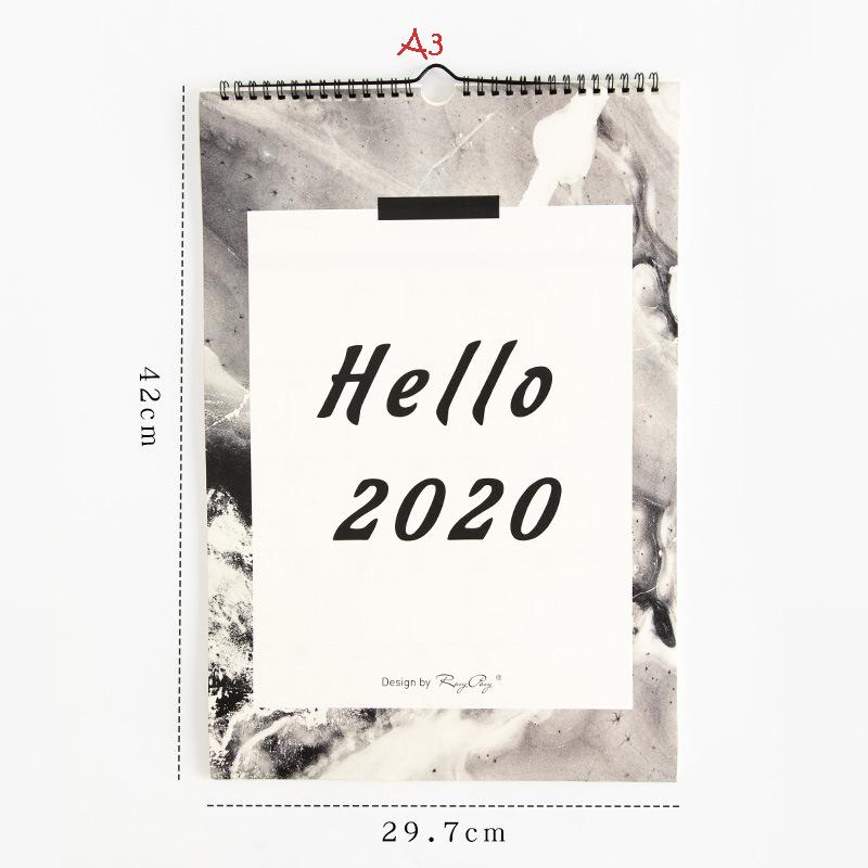 Hello 2020 креативный лунный календарь, чтобы сделать список повесток на стену, оформление календарей, ежедневник, органайзер для школы и офиса(Китай)