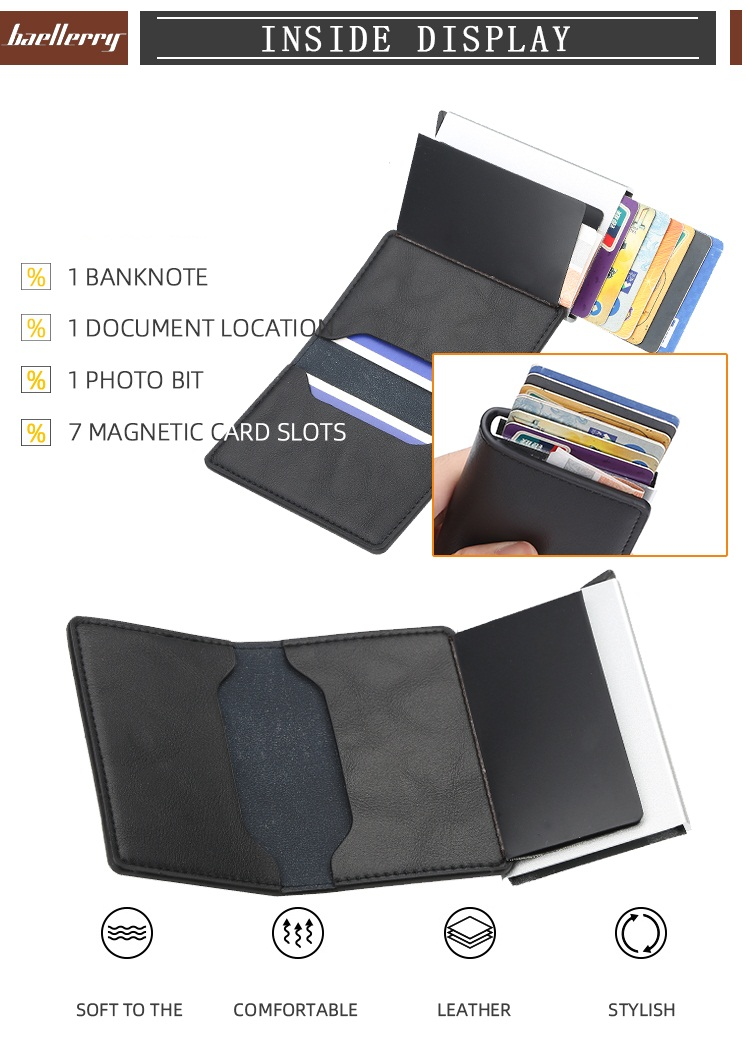 Baellerry 2019 New Style Fashion Automatic Popup Bank,Credit,Business,ID card Card Holder For Women and Men,Rfid Block Card Case