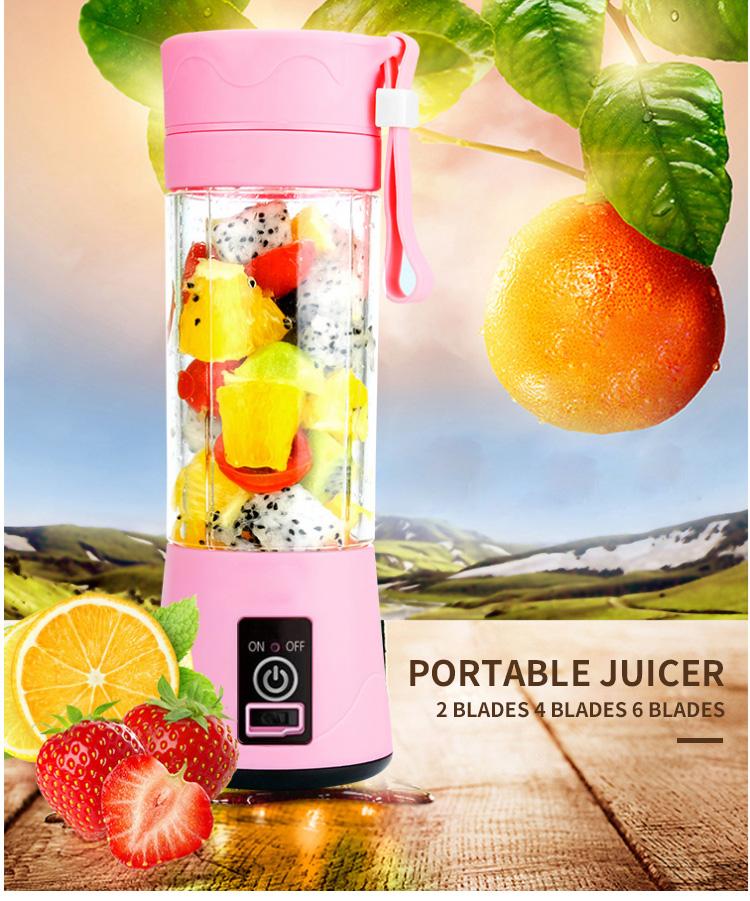 Portable USB Personal Blender Juicer Cup for Smoothies Shakes plastic Mini Travel Water bottles Blender Juicer