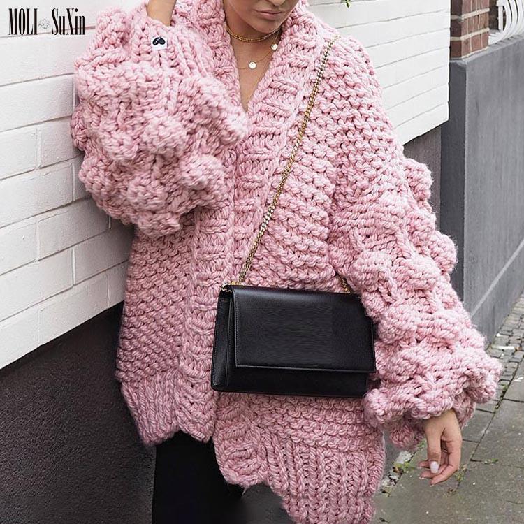 MOLI Winter Women Fashion Long Lantern Sleeve Knitting Cardigan Sweater Women Knitted Casual Warm Pop Cardigan Shawl Sweater, As picture