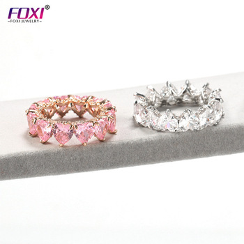 Foxi jewelry stock pink heart women diamond ring with wholesale price