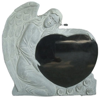 European Hot Sell Luxury Black Granite Angel Style Tombstone Products From Factory Directly With Cheap Price