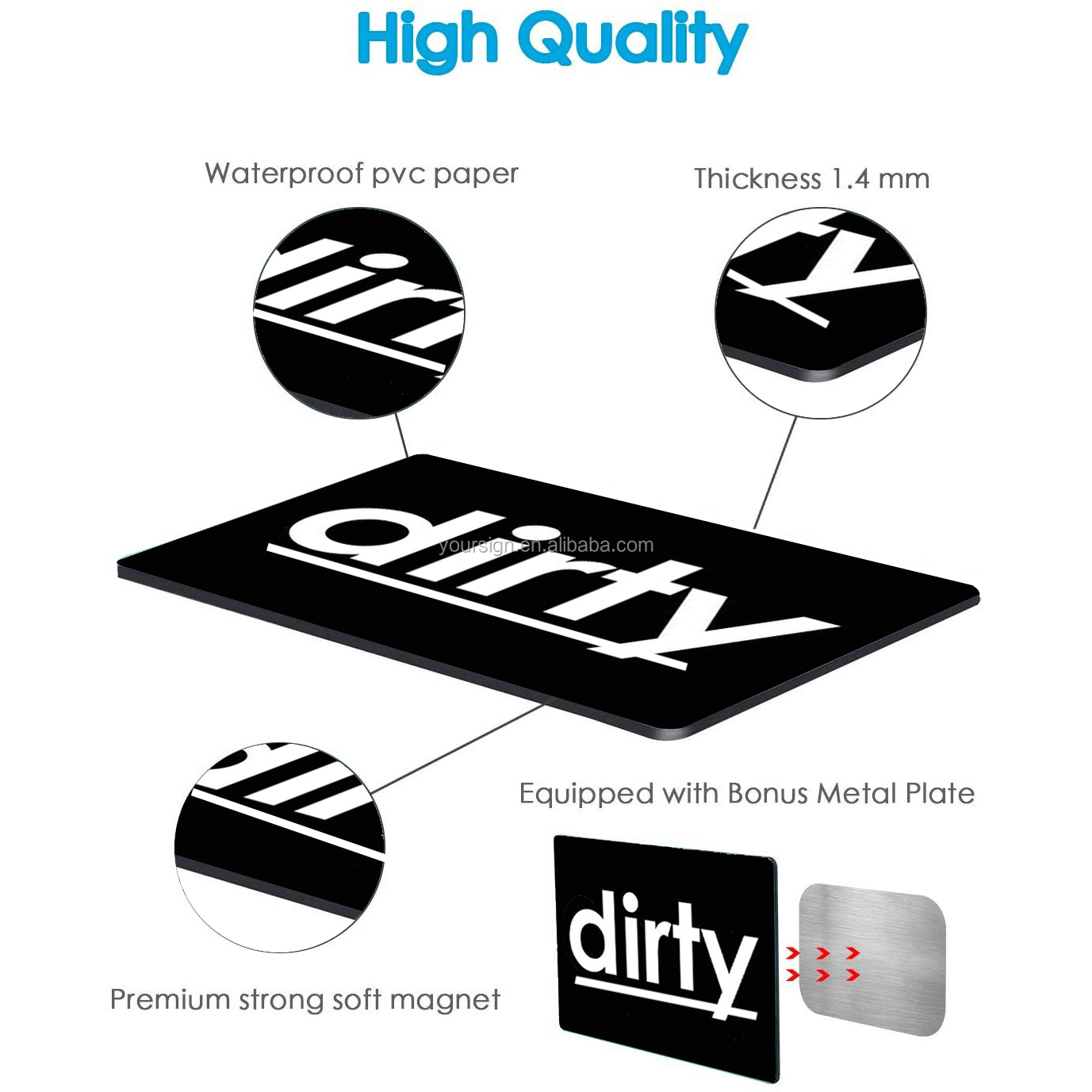 Custom double sided flip dishwasher magnet clean dirty sign