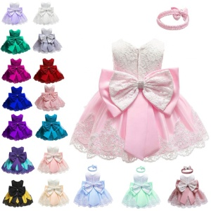 Wholesale lovely bowknot baby girls dresses Christmas pageant baby clothes embroidered performance dress for baby girls