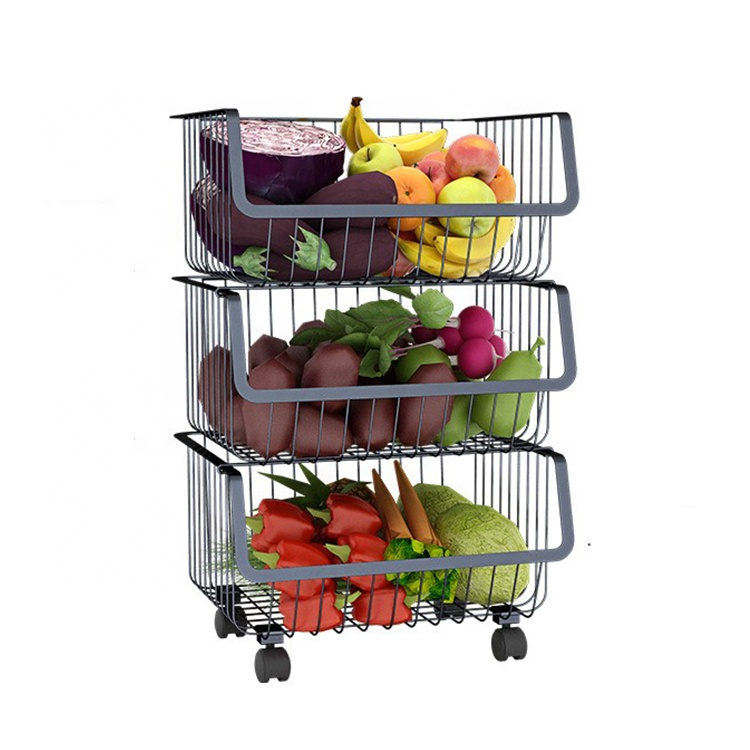 <strong>Carbon</strong> <strong>Steel</strong> Display Kitchen Storage Organizer Black Metal Standing Basket Rack With Wheel Wholesales