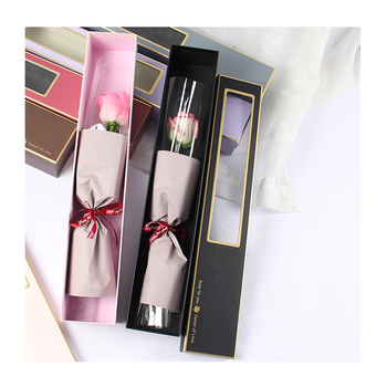 Pretty Gold Stamping Edge Paper Box Single Rose Packaging Box With Window For Gift