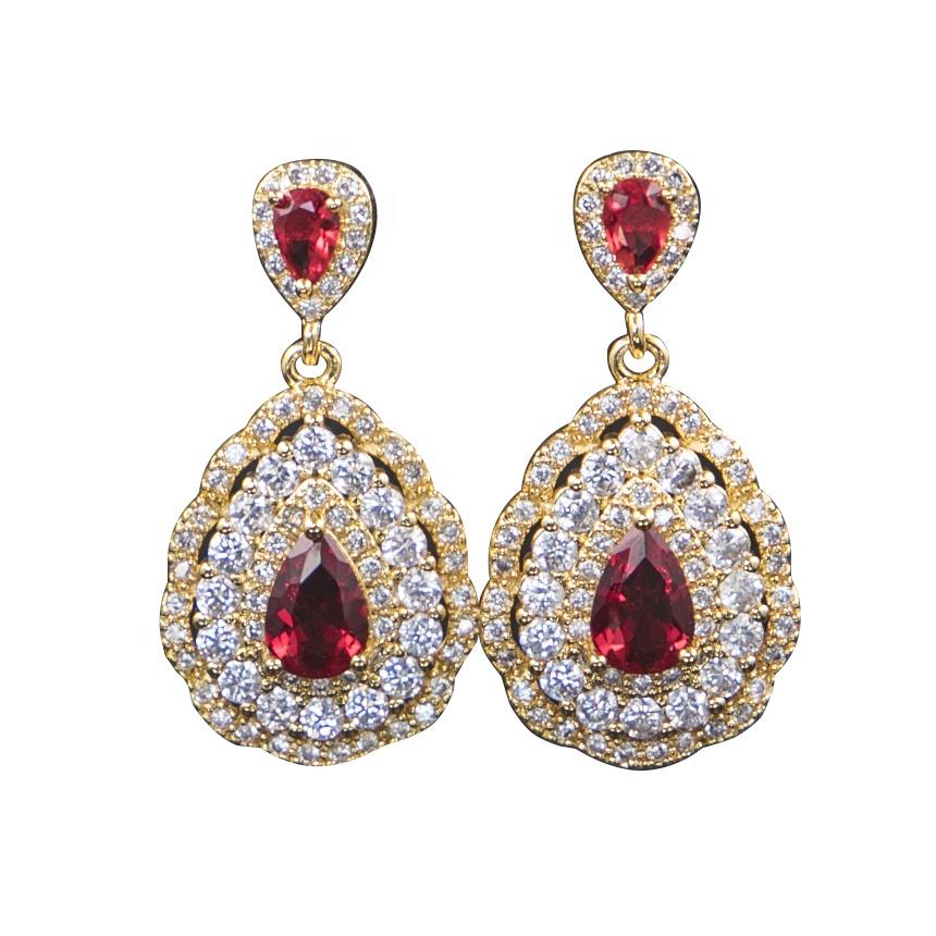 Kadın aksesuarları su damlası kolye elmas kazak kolye küpe takı seti