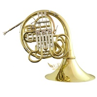 Roffee Musical Brasswind Instrument French horn Gold Lacquer F Key Bb 4 key double French Horn