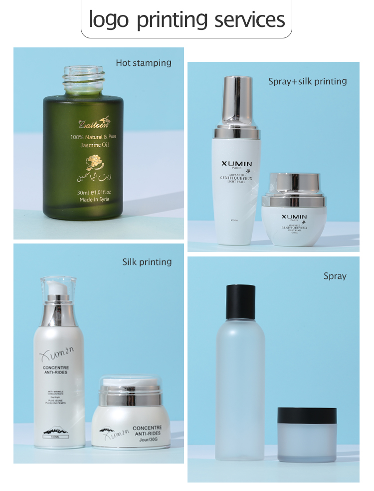 Cosmetic Packaging cream container Jar 40 100 120ML Luxury Glass Lotion Bottle